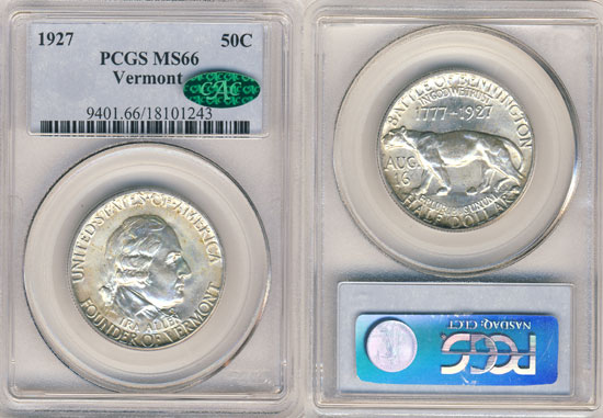 PCGS or NGC Vermont Half Dollar