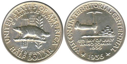 1936 Wisconsin Territorial Centennial Half Dollar