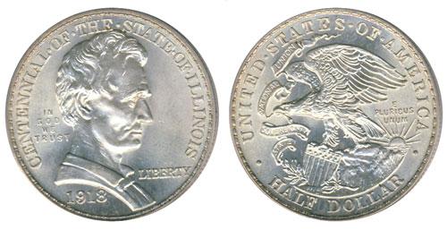 1918 Illinois Centennial Lincoln Half Dollar Commemorative Coin